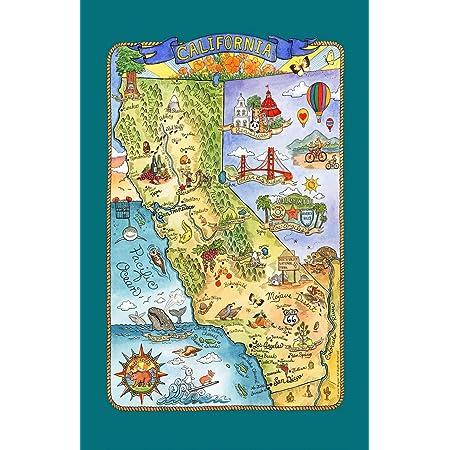 California Tea Towel California Map Tea Towel California Map Tea Towel Microfiber Tea Towel