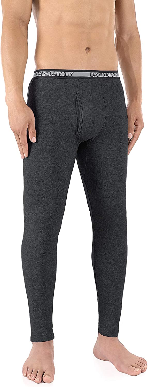 DAVID ARCHY Mens 2 Pack Lightweight Baselayer Bottom Keep Warm Wicking Thermal Pants