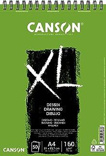 Canson Bloc dessin XL - Grain léger - 160g/m², 50feuilles par bloc - Spirale sur le côté court - Blanc 210 x 309 mm weiß