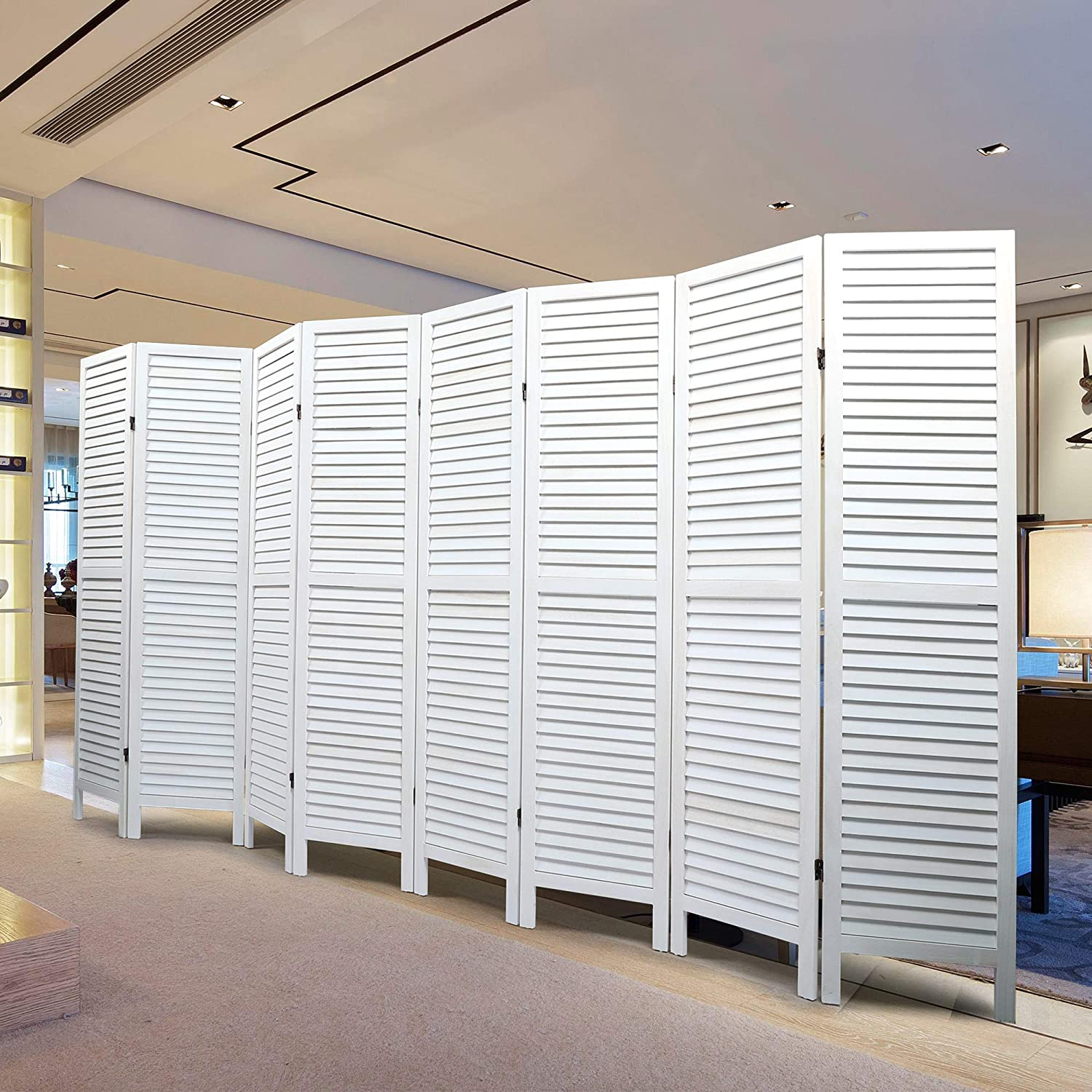 Free shipping JAXPETY 8 Panel Wood Louvered Room Tall Divider Omaha Mall Oriental Ft 5.6