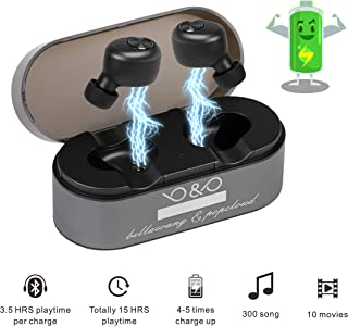 Wireless Earbuds Ture Bluetooth Headphones Noise Isolating Wireless Headphone Bluetooth 5.0 with Built-in Micro 15H Playtime Auto Pairing Touch Control Stereo Sound (Large)