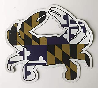Maryland FLAG PURPLE & Gold Blue Crab Car Refrigerator Large OUTDOOR Magnet 5.5