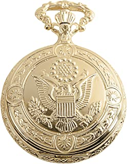 Daniel Steiger American Eagle Luxury Vintage Hunter Pocket Watch with Chain - 18k Gold Plating - Hand-Made Hunter Pocket Watch - Engraved Flying Eagle Design - White Dial with Black Roman Numerals