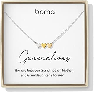 Boma Jewelry Sentiments Collection Generations Sterling Silver Three Hearts with 14kt Rose and Yellow Gold Vermeil Necklace, 18 Inches