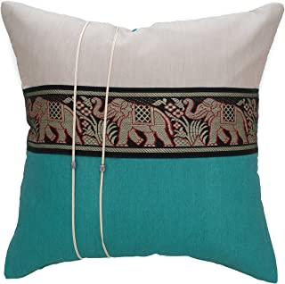 Avarada 16x16 Inch (40x40 cm) Striped Elephant Decorative Throw Pillow Case Cushion Cover for Sofa Couch Chair Bed Insert Not Included Zipper White Ivory Teal
