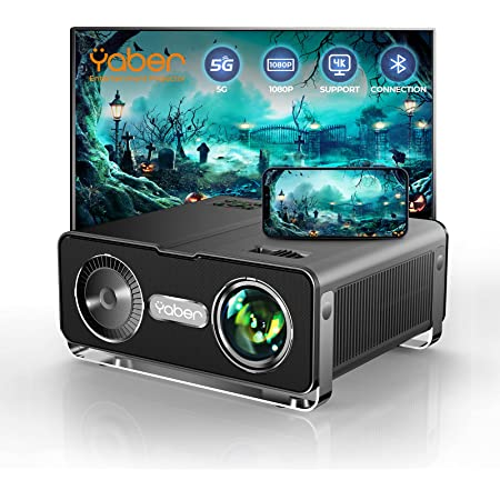 YABER V10 5G WiFi Bluetooth Projector 9500L Full HD Native 1080P Projector [Carrying Bag Included] Support 4K, 4-Point Keystone&Zoom, Home Theater&Outdoor Video Projector for iOS/Android/PC/PPT/PS5
