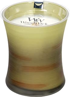WoodWick Apple Basket Scented Hourglass Crackling Wooden Wick Candle in Painted Glass Jar, Medium - 9.7 Oz