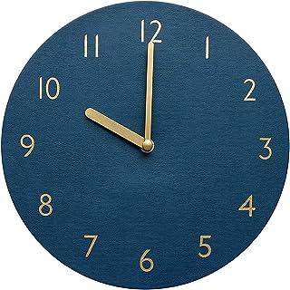 thehaki Decorative Wall Clock Silent & Non-Ticking Quartz Clock PU Leather Lightweight 0.4lb Round 9