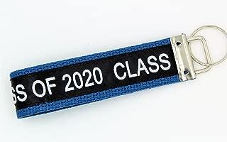 Class of 2020 Wristlet Key Fob Keychain Royal Blue