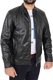 Mens Soft Leather Biker Jacket Casual Zip Fastening Style Matt Black