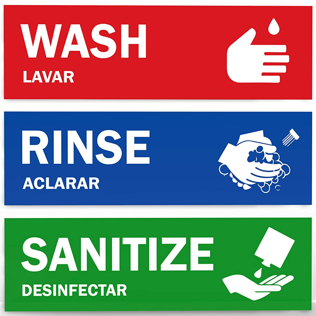 Wash, Rinse, Sanitize Sink Labels - Ideal for 3 Compartment Sink - 2.75