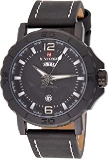 ساعة انالوج كلاسيكية بمينا اسود وسوار من جلد البولي يوريثين للرجال من نافي فورس - NF9122-BWB