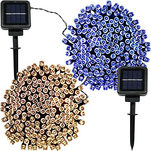 Sunnydaze Set of 2, 68 Foot 200-Count Solar Powered String Lights Outdoor Decorative, Blue and Warm White