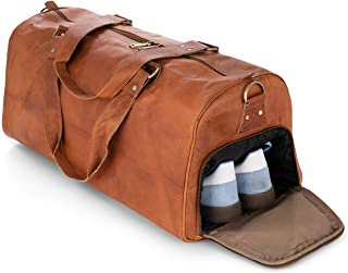 Berliner Bags Weekender Oslo mit Schuhfach Reisetasche aus Leder Damen Herren Braun Groß 45l