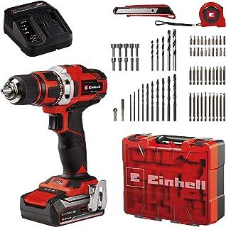 Einhell Cordless Drill/Screwdriver Set TE-CD 18/40 Li +69 Power X-Change (Li-Ion, 18 V, 2 Speeds, 40 Nm, Incl. 2.5 Ah Batt...