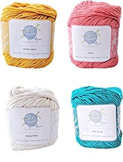 mindfulknits Knitting Yarn, Crochet Yarn & 100% Cotton Yarn for Knitting, Crocheting, Soft & Gentle Worsted Weight Yarn fo...