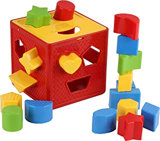 Play22 Baby Blocks Shape Sorter Toy - Childrens Blocks Includes 18 Shapes - Color Recognition Shape Toys with Colorful Sorter Cube Box - My First Baby Toys - Toys Gift for Boys & Girls - Original