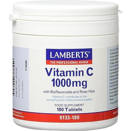 Lamberts Vitamina C 1000mg con Bioflavonoides y Escaramujo - 180 Tabletas