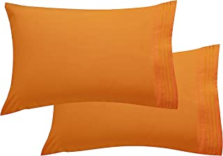 Elegant Comfort Luxury Ultra-Soft 2-Piece Pillowcase Set 1500 Thread Count Egyptian Quality Microfiber Double Brushed-100% Hypoallergenic-Wrinkle Resistant, Standard/Queen Size, Orange