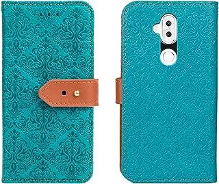 【 Judaz 】 Lace Series 手帳ケース ASUS エイスース ZenFone 5Q / 5 lite ZC600KL 用 手帳型 ケース (ブルー) 穴留め式 ストラップ付き スタンド機能 スマホケース 横開き PU革 カード入れ 財布型 カバー ゼンフォン5 lite ゼンフォン5Q 洋風柄 青