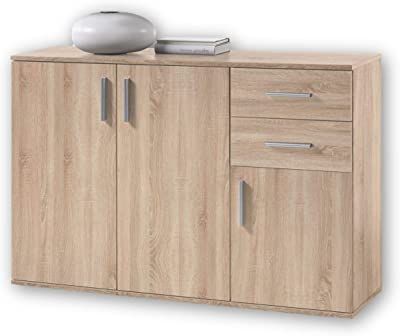 BOBBY Commode en chêne Sonoma - Buffet moderne avec beaucoup d'espace de rangement pour votre salon - 120 x 82 x 35 cm