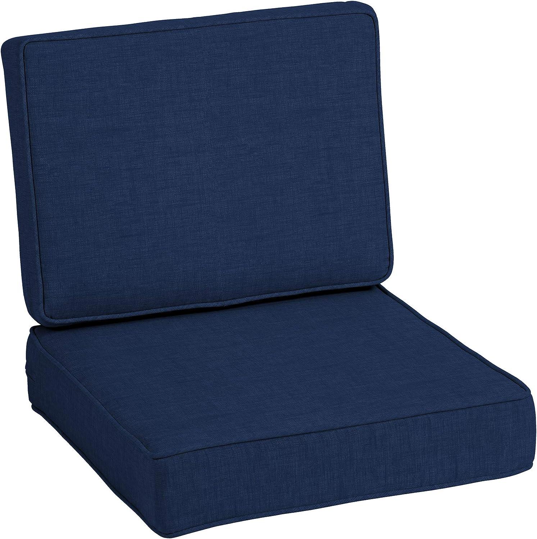 Arden Selections ProFoam Essentials 24 x 24 x 6 Inch Outdoor Deep Seat Cushion Set, Sapphire Blue Leala