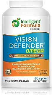 VISION DEFENDER OMEGA Suplemento para los ojos: para la salud ocular y ojos secos, aceite de pescado Omega-3 puro de alta resistencia de 1000 mg (400 mg de EPA, 200 mg de DHA por cápsula) 60 cápsulas