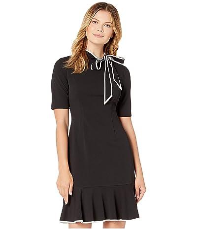 Adrianna Papell Knit Crepe Tie Neck Flounce Dress (Black/Ivory) Women