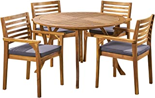 Great Deal Furniture Alma Acacia Patio Dining Set, 4-Seater, 47