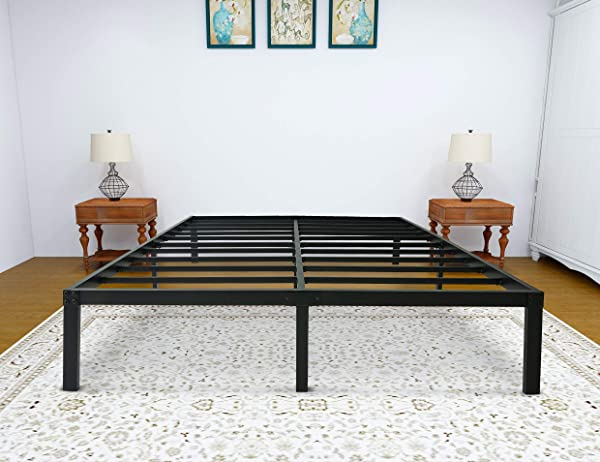 Zizin King Size Bed Frame Heavy Duty Platform Beds Mattress Foundation 14 Inch Metal Frames Noise Free No Need Box Spring King
