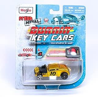Burnin' Key Cars Knuckle Dragger (Gold) Maisto Fresh Metal Car with Classic Key Launcher