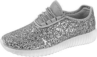 Foxy Grey Allison Womens Sneakers | Glitter Shoes for Women | Fashion Sneakers | Sparkly Shoes for Women | Casual Shoes