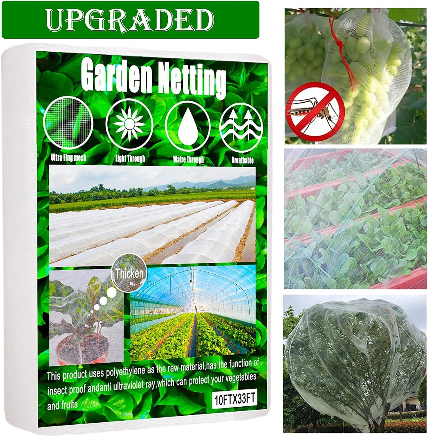 Upgraded Garden Netting, 10ftx33ft Insect Netting, Thicken Bird Mosquito Netting, Ultra Fine Bug Netting, Soft Permeable Bug Cicada Netting for Garden, Garden Screens Insect Mesh for Plants