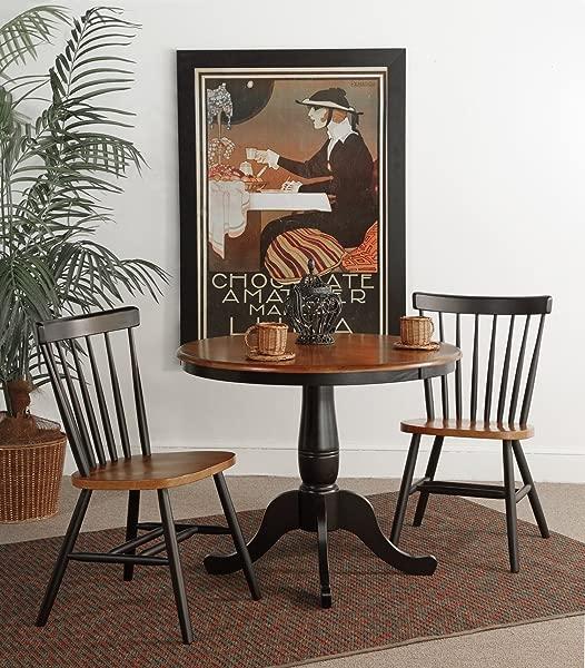 国际概念 36 英寸圆形基座餐桌,配有 2 把哥本哈根椅子,一套 3 把
