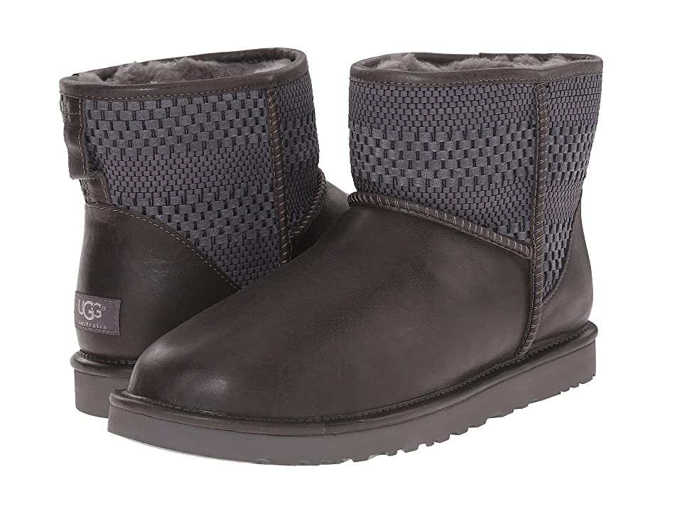 UGG Classic Mini Weave (Charcoal Suede/Textile/Leather) Men