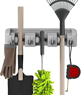 Shovel, Rake and Tool Holder with Hooks- Wall Mounted Organizer for Garage, Closet, or Shed-Hang Home and Garden Tools-Spa...