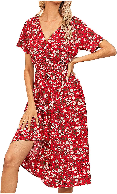 Summer Dresses for Women Floral Graphic Print Cocktail Dress Short Sleeve Bohemian Dress Wrap V Neck Midi Skirt