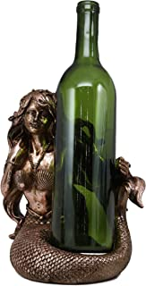 Ebros Nautical Coastal Beach Mermaid Wine Holder Figurine in Bronze Finish Resin Sea Siren Kitchen Decor Party Hosting Centerpiece Ocean Reef Water Nymph Statue