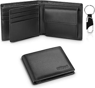wilbest® Portafoglio Uomo Slim Vera Pelle Blocco RFID, Con Portamonete, Porta Chiavi, Porta Carte di Credito, Finestra ID,...