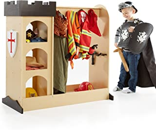 Guidecraft Castle Themed Dress Up Center : Dramatic Play Dresser with Mirror and Safe Hooks, Storage Armoire for Kids - Toddlers Costume Organizer, Children Playroom Furniture