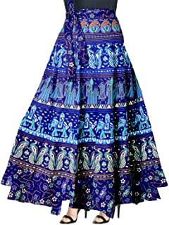 Indian Dresses Store FrionKandy Cotton Traditional Print Women's A-Line Wrap Around Skirt -Free Size Blue