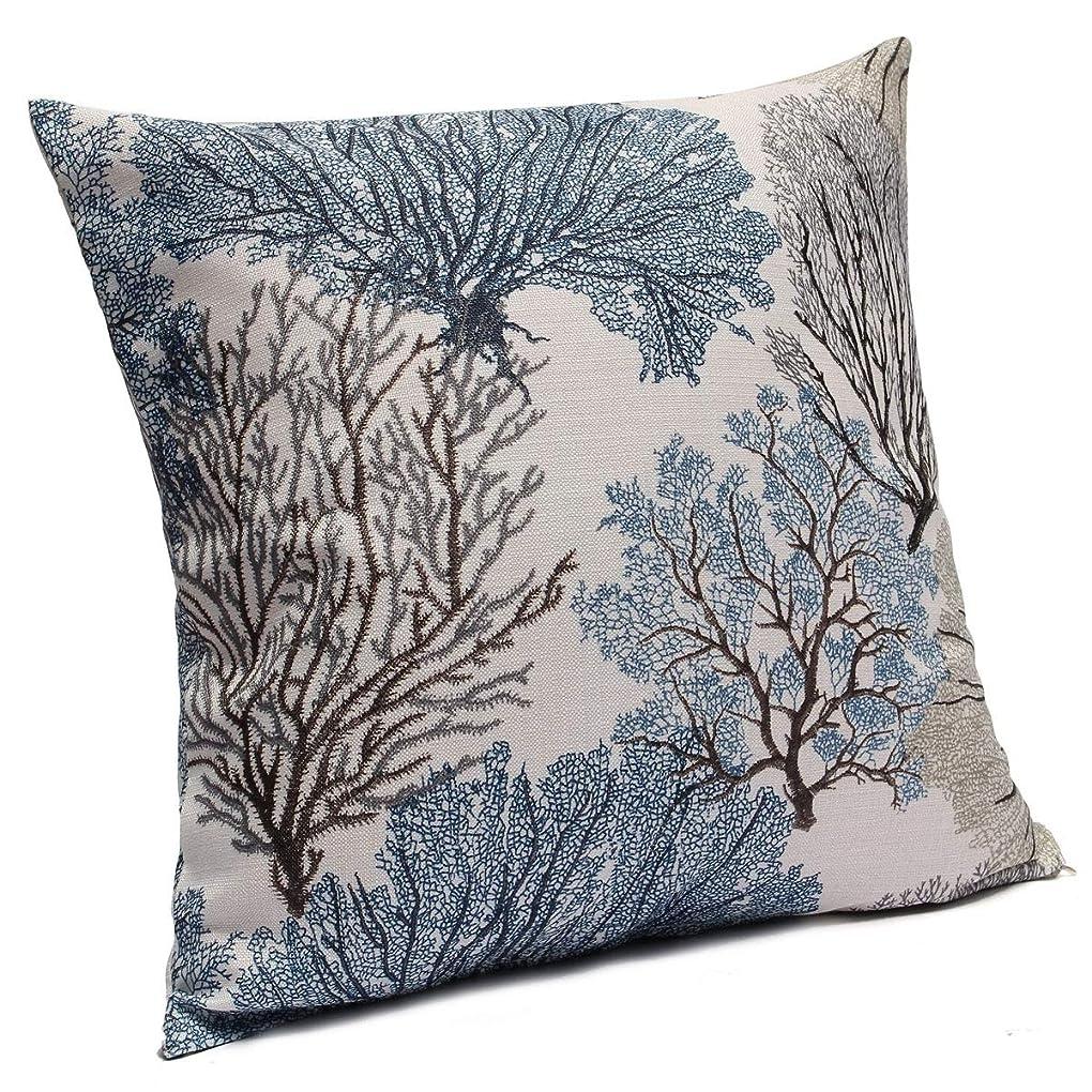 サンダース気分が良い加速度綿味の亜麻の柔らかい装飾枕カバーは古木による (ブルー)