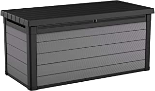 Keter Premier 150 Gallon Resin Large Deck Box for Patio Garden Furniture, Outdoor Cushion Storage, Pool Accessories, and Toys, Grey