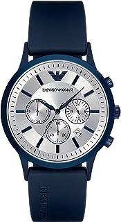 ساعة ريناتو انالوج بمينا فضي اللون وسوار من المطاط للرجال من امبوريو ارماني - AR11026