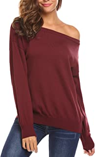 Teewanna Women's Cold Shoulder Sweater Boat Neck Long Sleeve Loose Fitting Sexy Sweatshirt Pullover