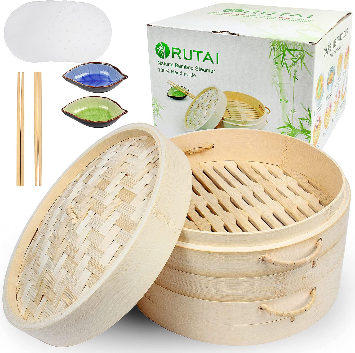 Handmade 10 Inch Bamboo Steamer Two with Lid - Tier Limited time sale Arlington Mall Baskets