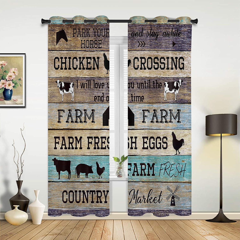 Window Sheer Curtains for Bedroom Living Barn Retro 即出荷 贈り物 Farm An Room