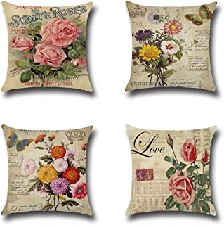XIECCX Throw Pillow Covers Decorative Pillowcases Set of 4 - Linen Cotton Cover Constellation for Sofa,Bed,Chair,Auto Seat 18 x 18 inch (Rose&Daisy)