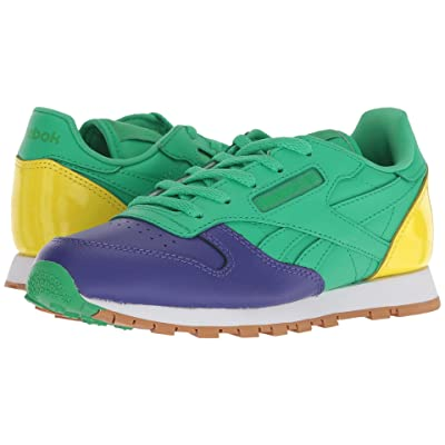 Reebok Kids Classic Leather (Little Kid) (Team Purple/Bottle Green/Bright Yellow) Kids Shoes