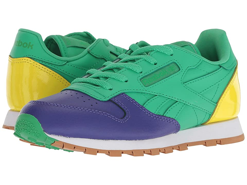 Reebok Kids Classic Leather (Little Kid) (Team Purple/Bottle Green/Bright Yellow) Kids Shoes